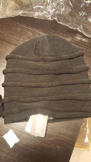 CACUSS冬季羊毛针织帽子 男士双面戴毛线帽保暖帽男女通用冬帽Z0081 黑色正面-深灰反面 晒单图