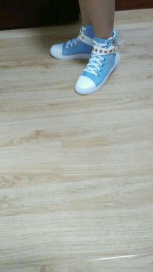 2018高帮帆布鞋女侧拉链韩版学生休闲鞋白色布鞋 黑色 38 晒单图