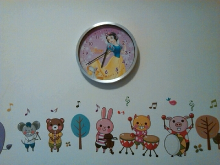 疯小猫(HICAT)儿童挂钟公主艺术时钟儿童房创意静音简约现代大钟表石英钟挂表 G030睡美人黑针银丝框 12英寸 晒单图