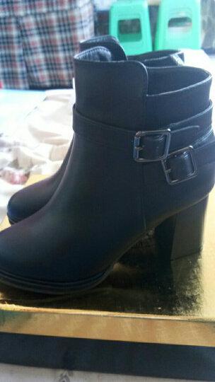 莱卡金顿女靴子加绒短靴女保暖女鞋 2017冬季新款高跟靴圆头粗跟低筒马丁靴子女 1882  黑色 39 晒单图