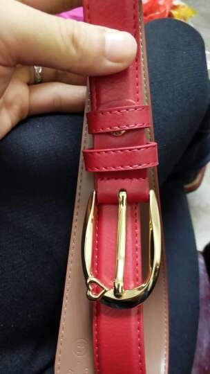 花花公子皮带女士腰带韩版百搭时尚针扣装饰牛皮牛仔裤带 红色 晒单图