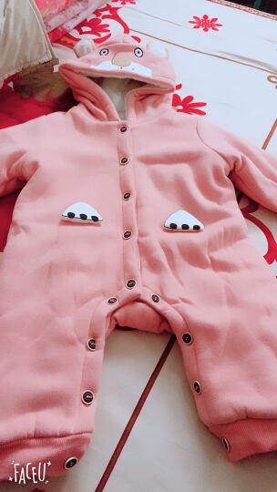 十点伴婴儿加厚连体衣冬装3-6-9个月宝宝衣服加绒小熊造型哈衣新生儿爬爬服 蓝色 73 晒单图