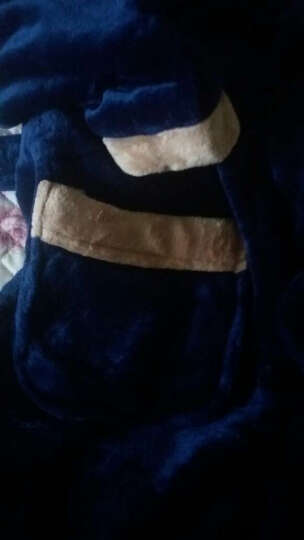 南极人睡衣睡袍浴袍男士秋冬法兰绒加厚情侣家居服女珊瑚绒加长保暖款 男士带帽藏青 XL 晒单图