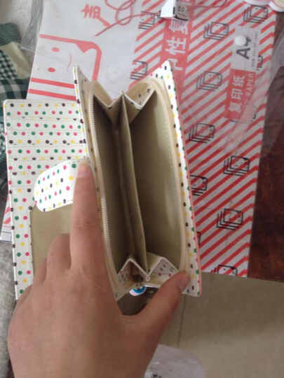 梨花娃娃rinkadoll韩版新款可爱波点多卡位短中长款女士钱包Q132 粉色 短款 晒单图