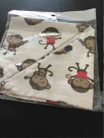 宝慧德(BBHOLD) 婴儿棉制口水巾三角巾宝宝新生儿小围嘴儿童头巾围巾 活泼猴子 晒单图