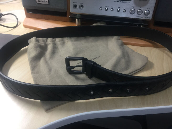 BOTTEGA VENETA BV 宝缇嘉 黑色牛皮编织针扣式腰带皮带 271914 V4650 1000 100cm 晒单图