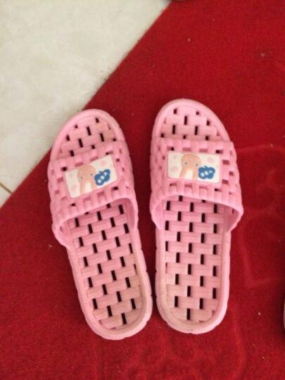 天淑 凉拖鞋女男夏季防滑情侣浴室洗澡拖鞋漏水亲子可爱室内居家软底按摩 男-深蓝色 44-45(适合43-44码的脚穿 ) 晒单图