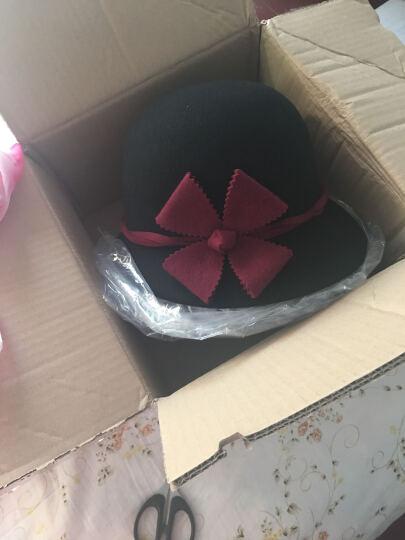 瑞苏薇 原创品牌女甜美花朵羊毛保暖秋冬新款礼帽毛呢帽子 黑色 晒单图