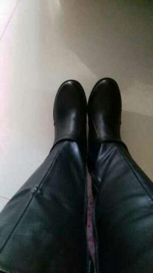 莎美茜马丁靴女真皮粗跟舒适加绒保暖长筒靴英伦风女士高筒靴 黑色单里 38 晒单图