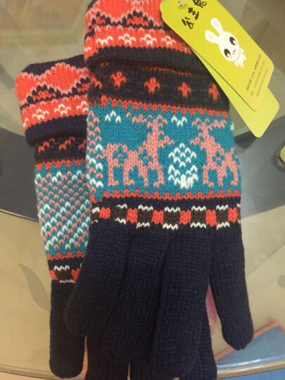 公主兔秋冬天冬季韩版毛线手套女士可爱雪花小鹿针织厚保暖分指五指手套 西瓜红雪花 晒单图
