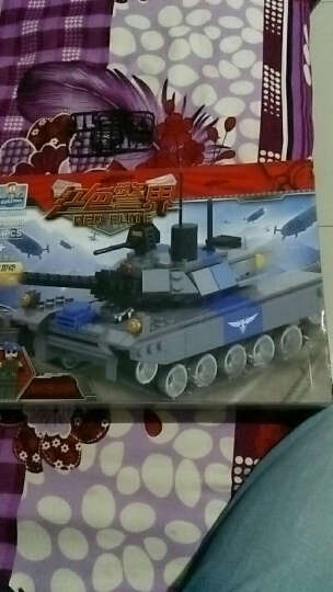 巧乐童儿童玩具军事积木益智拼装插警察红色警界反恐特种部队积木 灰熊坦克 晒单图