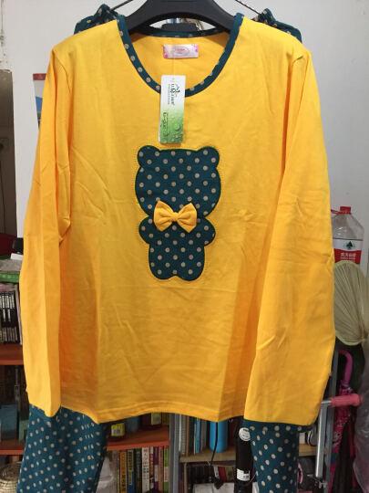 绿果 纯棉睡衣女夏季短袖七分裤棉质女士家居服可外穿休闲套装 G2054 XL(170) 晒单图