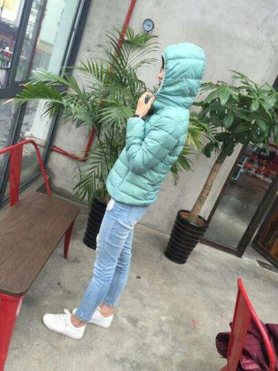 omlesa冬季新款百搭女装时尚简单超轻薄连帽短款修身羽绒服女YR4047 粉色 XXL 晒单图