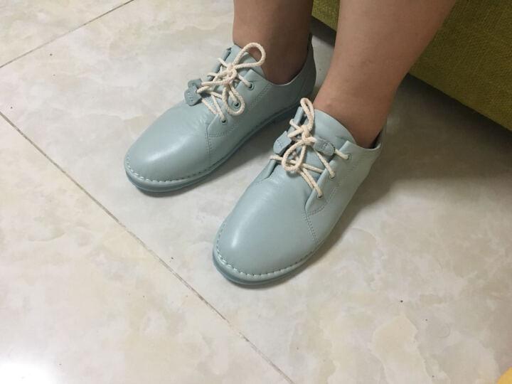Tata/他她女鞋系带牛皮小白鞋低跟百搭单鞋2WC20CM7 浅兰 37 晒单图