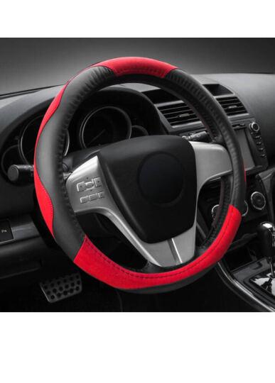 YooCar 汽车方向盘套真皮 车用把套四季通用 宝马五系奔驰E系奥迪A4L丰田汉兰达 红色中号 晒单图