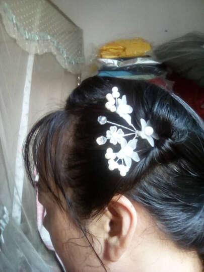 新娘头饰发饰白色红色珍珠日韩式甜美盘发头花发簪套装结婚配饰 14# 三件套 晒单图