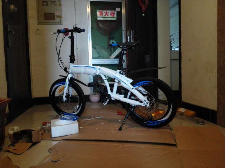 永久自行车  20寸7级禧玛诺变速折叠车 双碟刹/40高刀圈/台湾建大车胎 男女式单车 YE2017 白蓝色 晒单图