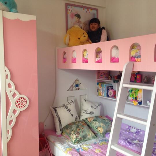 卡奴米 儿童双层床组合床小孩床上下床高低床子母床男孩女孩公主母子床上下铺拖床859# (粉色)上下床+书架+挂梯 1200*1900 晒单图