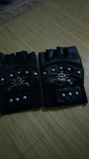 水鸟斯克男士秋季仿皮半指半截手套运动健身骑行户外街舞手套 骷髅半指黑色 晒单图