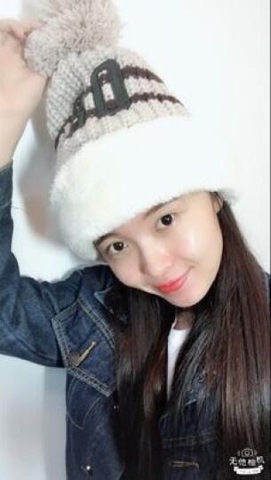 糖果涩 韩国加厚骑行毛线帽子潮女可爱冬季加绒护耳帽骑车保暖围脖一体帽 黑色 晒单图