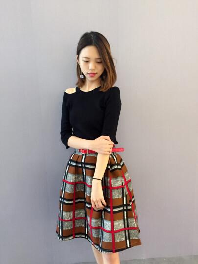 密瓜森林连衣裙2018夏季秋装新款女装米兰格子半身裙时尚两件套装裙子1728 黄格裙 S 晒单图