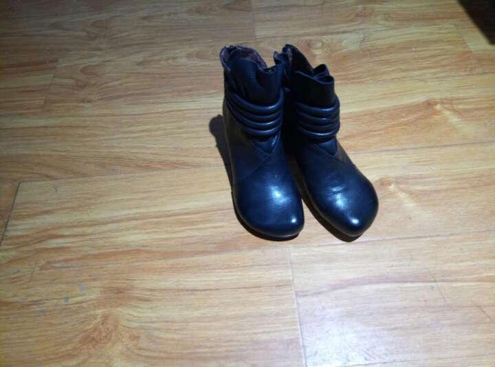 相伴秋冬女靴 手工擦色复古真羊皮鞋 高跟优雅舒适短靴毛绒棉靴 黑色真皮内里 37 晒单图