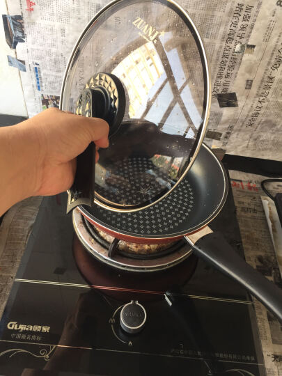 钻技(ZUANJ)进口不粘锅26CM煎蛋煎牛排煎平底锅燃气电磁灶通用ZJ-RNF26(酒红色) 晒单图