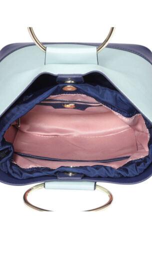纽芝兰(NUCELLE)女包时尚个性手提包单肩斜挎韩版潮包 141灰粉绿配湛蓝色 晒单图