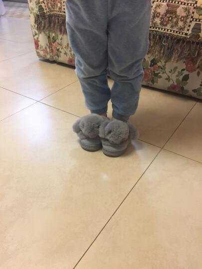 糖果涩 2018冬季新款儿童棉拖鞋可爱半包跟兔子毛绒拖鞋居家保暖男女童棉拖鞋 青灰 19-20码内长约17CM适合大概3-4岁 晒单图