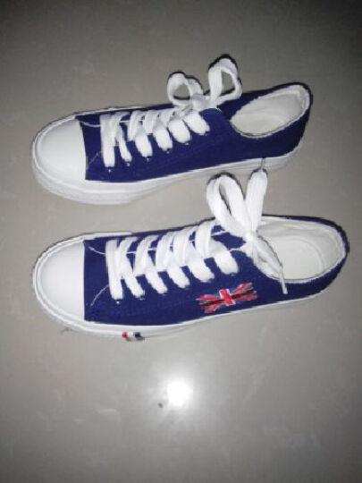 夏季时尚新款单鞋子大码 情侣款男帆布鞋韩版纯色低帮女士平底学生板鞋 蓝色 37 晒单图