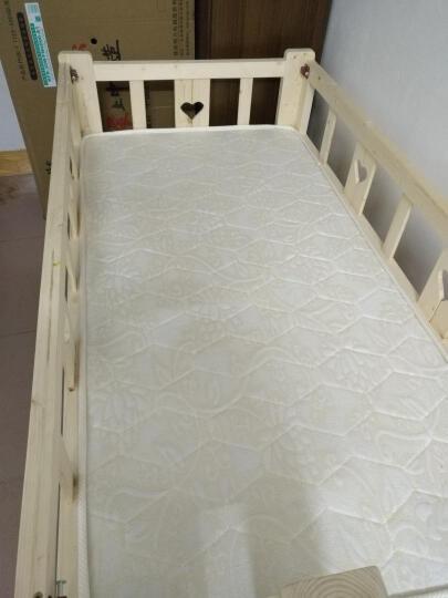 实木床单人带护栏加宽床床实木简约现代松木婴儿小床加宽床带尾梯拼接床 四面护栏带尾梯 150*80*40+5cm3E椰棕床垫 晒单图