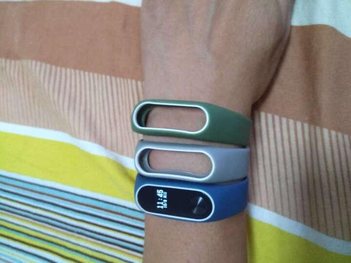 OUMEI 小米手环2腕带 类原装2代替换带非皮革金属 午夜蓝白 晒单图