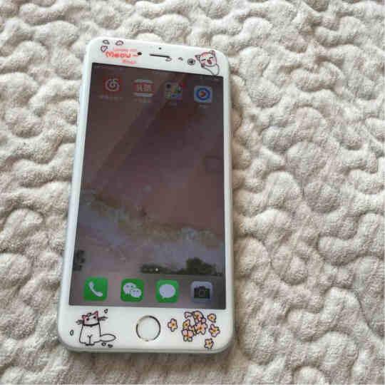 【买二送一】今首为 苹果6s钢化膜卡通彩膜3D全屏覆盖防指纹iPhone6plus手机膜女 6plus-5.5英寸-桃花喵喵 晒单图