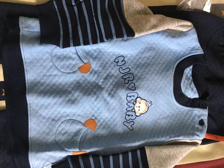南极人(Nanjiren) 南极人宝宝春秋款夹棉套装婴儿衣服新款儿童卫衣套装 口袋小猴子-天蓝 110cm 晒单图
