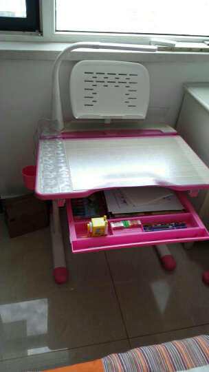 童星(tongxing)儿童学习桌套装学生书桌家用小孩写字桌子简约作业桌升降式课桌木纹桌面 A01-T粉色成长版含椅子赠阅读架 晒单图