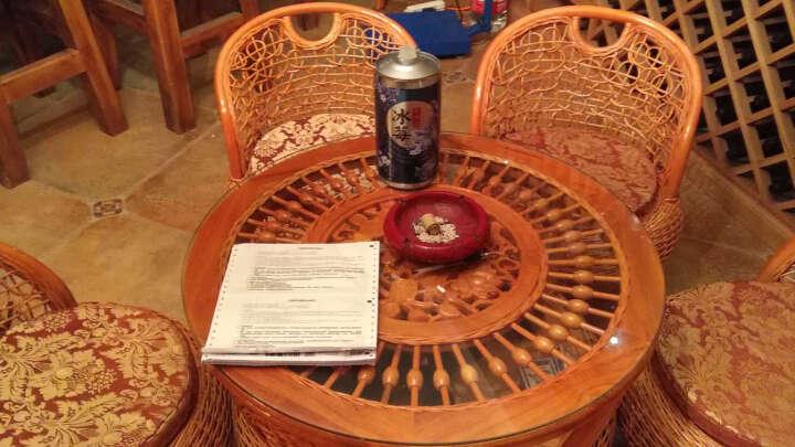 艾米轩咖啡厅会所茶庄庭院客厅阳台休闲真藤椅子茶几五件套藤木茶桌椅茶台椅洽谈桌椅组合藤编家具 2+1大号椅配小茶几 晒单图