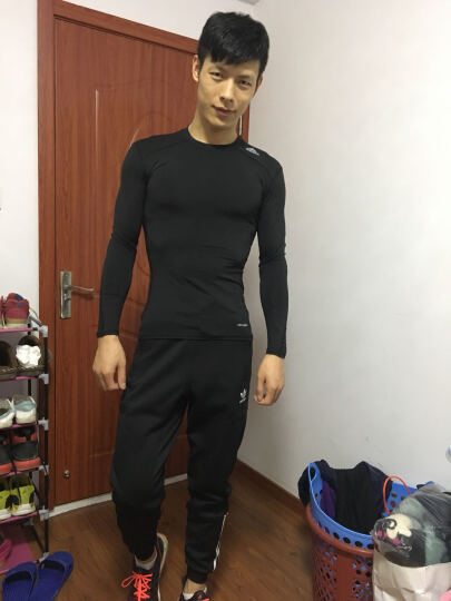 ADIDAS阿迪达斯健身服男2019春季新款紧身衣篮球运动服跑步长袖T恤 AJ5016 CD7203 S 晒单图