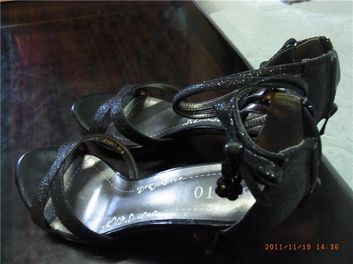 basto百思图黑色亮片布女凉鞋36码rmdtiu04du2bl1230