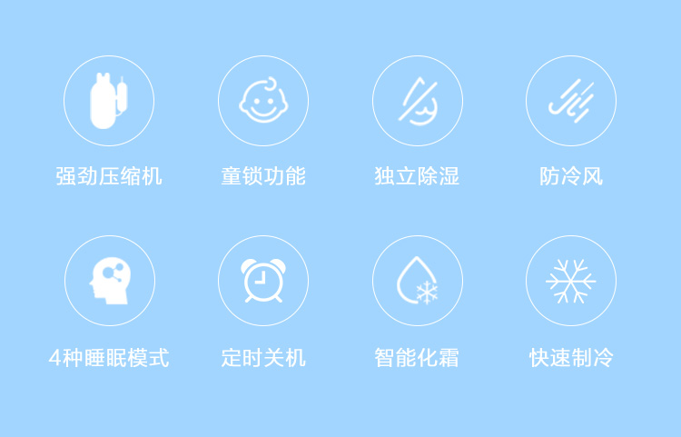 )(③)(强劲压缩机童锁功能独立除湿防冷风Q)()(Q)(4种睡眠模式定时关机智能化霜快速制-推好价 | 品质生活 精选好价