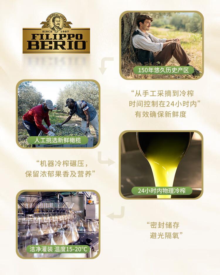 翡丽百瑞 优选特级初榨橄榄油750ml 意大利原装进口 食用油(FILIPPO BERIO)