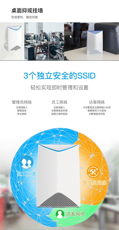 美国网件 (NETGEAR) Orbi SRK60 AC3000M 三频Mesh企业分布式高速路由套装 三个独立SSID高安全WiFi SRR60