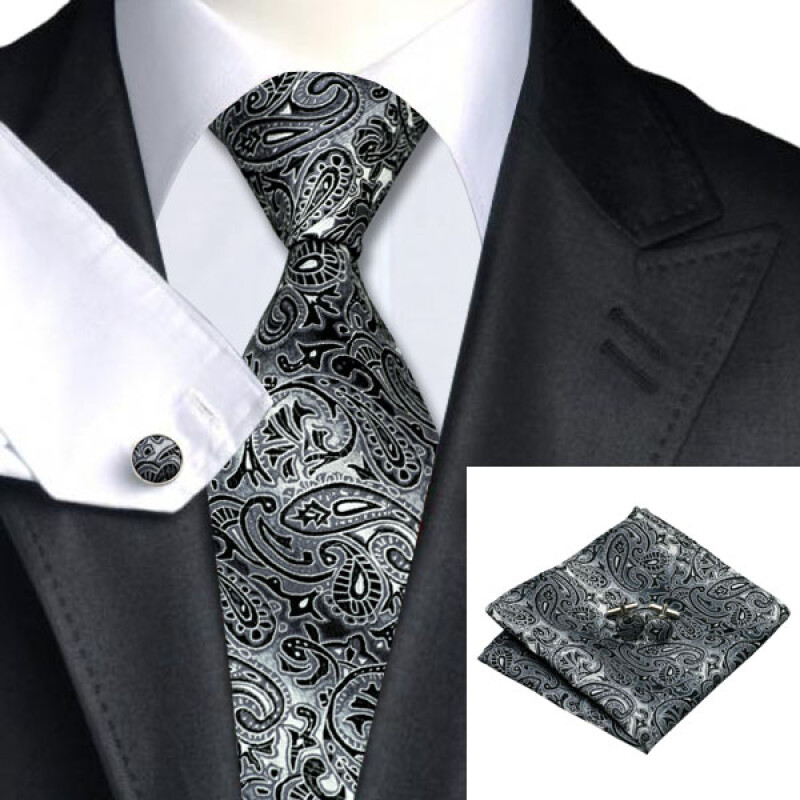 N-0209 Vogue Men Silk Tie Set Black Paisley Necktie Handkerchief Cufflinks Set Ties For Men Formal Wedding Business wholesale