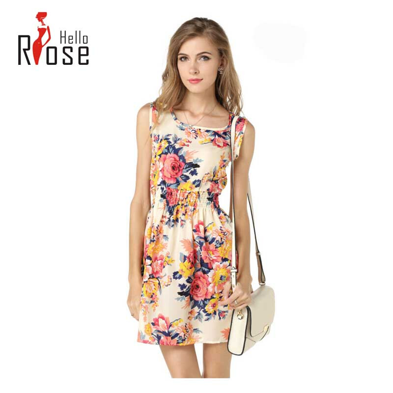 Floral chiffon sleeveless vest skirt dress