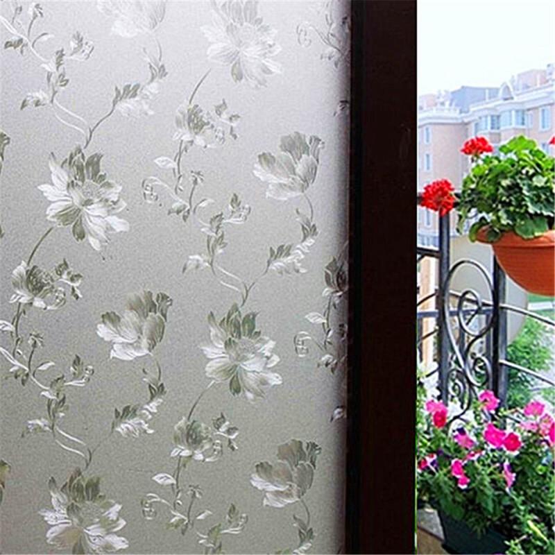 60x100cm цветок матовое стекло окна наклейки фильм privacy p.
