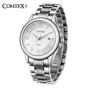 COMTEX Men Quartz Watch Stainless Steel Bracelet With Roman Numerals And Big Dial Fashion Brand Watch Men Relogio Masculino