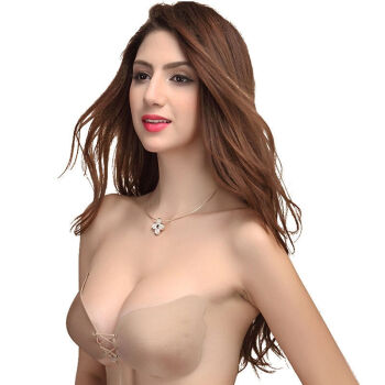 Yizi invisible bra lacquered silicone bra thickening bride bride swimming small chest gather breathable milk paste invisible underwear wings pumping style skin color C cup