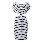 Dresses-CHOIES 2015 Summer style Monochrome Stripe Open Belly Dress on JD