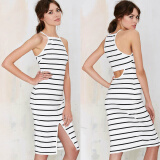 Dresses-CANIS@2015 Sexy Women's Sleeveless Stripe Pattern Bodycon Dress on JD