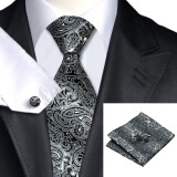 Men's Accessories-N-0209 Vogue Men Silk Tie Set Black Paisley Necktie Handkerchief Cufflinks Set Ties For Men Formal Wedding Business wholesale on JD