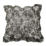 Home textiles-VIVREAL Grey Satin Rose Flower Bed Decor Square Pillow Cushion Pillowcase Case Cover on JD